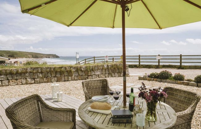The view from The Rockpool patio of Praa Sands
